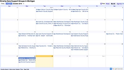 Kinship Care Support Group calendar screenshot